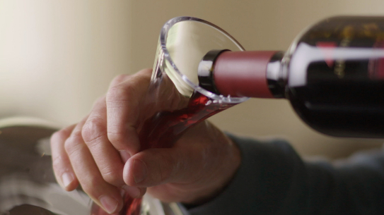 JUSTIN Wine – Lesson 2 – Crush It with JUSTIN – Opening and Decanting Wine; Pouring red wine into decanter